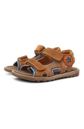Детские кожаные сандалии RONDINELLA коричневого цвета, арт. 0767-3/6299/31-33   Фото 1 (Материал внутренний: Натуральная кожа)