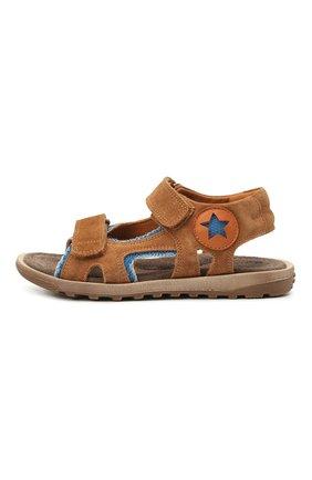Детские кожаные сандалии RONDINELLA коричневого цвета, арт. 0767-3/6299/31-33   Фото 2 (Материал внутренний: Натуральная кожа)