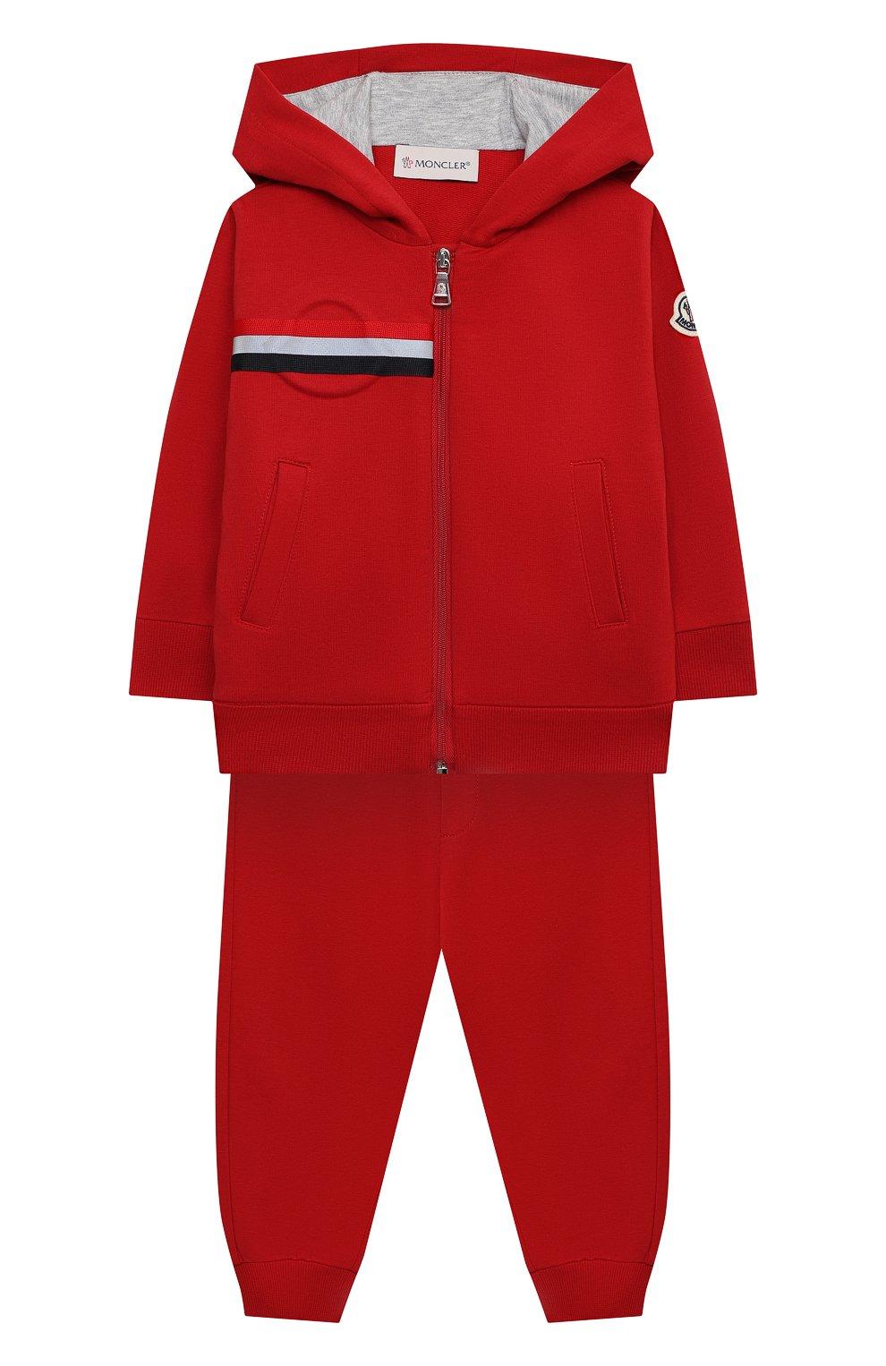 Детский комплект из толстовки и брюк MONCLER красного цвета, арт. G1-951-8M741-20-809AC   Фото 1