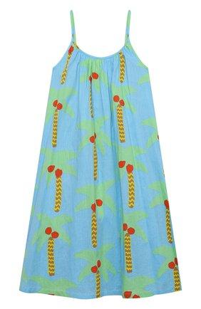 Детское хлопковый сарафан STELLA MCCARTNEY бирюзового цвета, арт. 602785/SQK85 | Фото 1