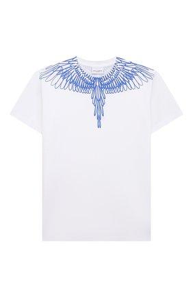 Детская хлопковая футболка MARCELO BURLON KIDS OF MILAN белого цвета, арт. 21E/B/MB/1100/0010/2-6Y   Фото 1