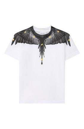 Детская хлопковая футболка MARCELO BURLON KIDS OF MILAN белого цвета, арт. 21E/B/MB/1114/0010/2-6Y   Фото 1