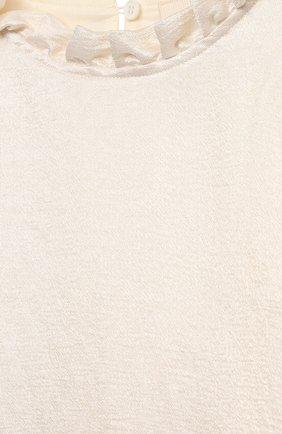Детское платье из вискозы DOUUOD белого цвета, арт. 21E/U/JR/AB04/2710/10A-14A   Фото 3 (Рукава: Длинные; Случай: Вечерний; Материал внешний: Вискоза; Девочки Кросс-КТ: Платье-одежда; Материал подклада: Хлопок; Ростовка одежда: 10 - 11 лет   140 - 146см, 12 лет   152 см)