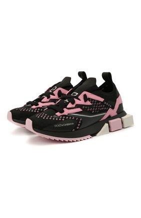 Детские кроссовки DOLCE & GABBANA розового цвета, арт. DA0952/AW478/24-28   Фото 1