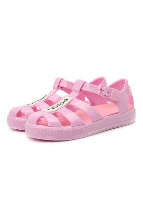 Детские сандалии DOLCE & GABBANA розового цвета, арт. DN0115/AK498   Фото 1 (Материал внутренний: Текстиль; Материал внешний: Резина)