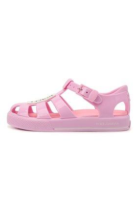 Детские сандалии DOLCE & GABBANA розового цвета, арт. DN0115/AK498   Фото 2 (Материал внутренний: Текстиль; Материал внешний: Резина)