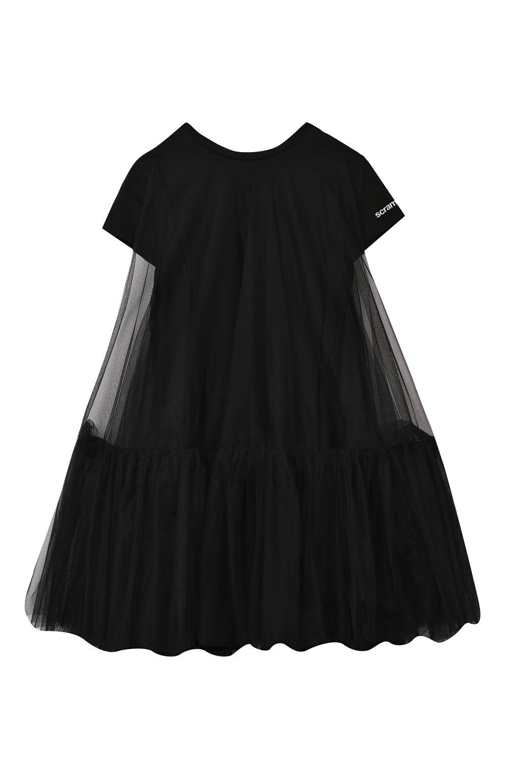 Детское платье SCRAMBLED_EGO черного цвета, арт. 12066J   Фото 1 (Рукава: Короткие; Случай: Повседневный; Материал внешний: Синтетический материал; Девочки Кросс-КТ: Платье-одежда; Материал подклада: Хлопок)
