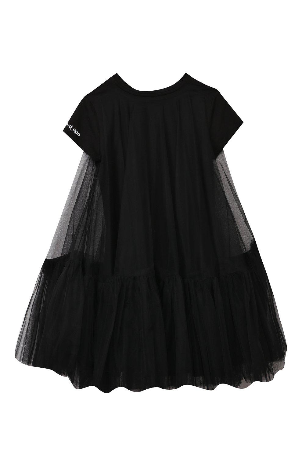 Детское платье SCRAMBLED_EGO черного цвета, арт. 12066J   Фото 2 (Рукава: Короткие; Случай: Повседневный; Материал внешний: Синтетический материал; Девочки Кросс-КТ: Платье-одежда; Материал подклада: Хлопок)