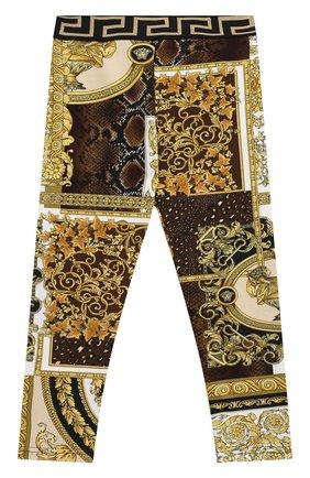 Детские хлопковые леггинсы VERSACE золотого цвета, арт. 1000361/1A00270 | Фото 1