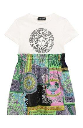 Детское хлопковое платье VERSACE разноцветного цвета, арт. 1000327/1A00337/4A-6A | Фото 1