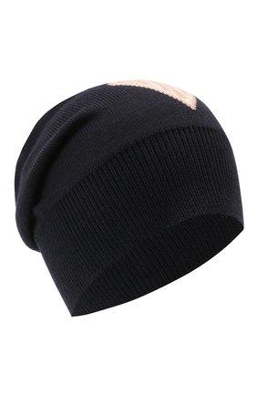 Женская шерстяная шапка CHLOÉ темно-синего цвета, арт. CHC21SD010WCA | Фото 1 (Материал: Шерсть)