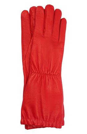 Женские кожаные перчатки BOTTEGA VENETA красного цвета, арт. 650548/3V00F | Фото 1 (Материал: Кожа)