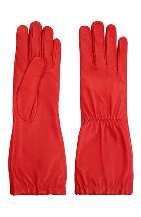 Женские кожаные перчатки BOTTEGA VENETA красного цвета, арт. 650548/3V00F | Фото 2 (Материал: Кожа)