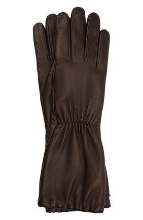 Женские кожаные перчатки BOTTEGA VENETA темно-коричневого цвета, арт. 650548/3V00F | Фото 1 (Материал: Кожа)