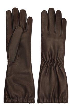 Женские кожаные перчатки BOTTEGA VENETA темно-коричневого цвета, арт. 650548/3V00F | Фото 2 (Материал: Кожа)