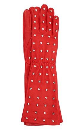 Женские кожаные перчатки BOTTEGA VENETA красного цвета, арт. 649948/3V00F | Фото 1 (Материал: Кожа)