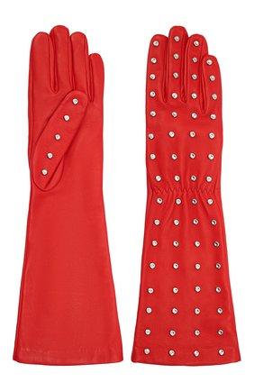 Женские кожаные перчатки BOTTEGA VENETA красного цвета, арт. 649948/3V00F | Фото 2 (Материал: Кожа)
