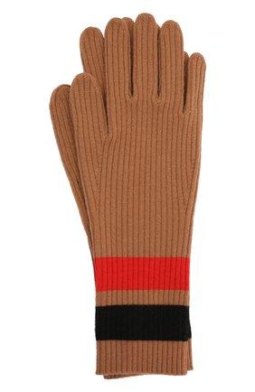 Женские перчатки из шерсти и кашемира BURBERRY бежевого цвета, арт. 8037093 | Фото 1