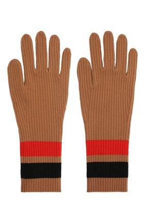 Женские перчатки из шерсти и кашемира BURBERRY бежевого цвета, арт. 8037093 | Фото 2
