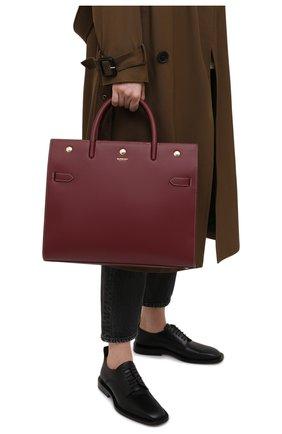 Женская сумка title BURBERRY бордового цвета, арт. 8037653 | Фото 2 (Размер: large; Сумки-технические: Сумки через плечо, Сумки top-handle; Ремень/цепочка: На ремешке; Материал: Натуральная кожа)