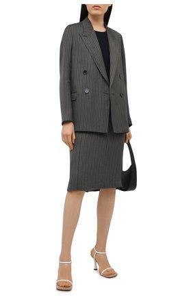 Женская юбка из льна и вискозы ACNE STUDIOS серого цвета, арт. AF0179   Фото 2