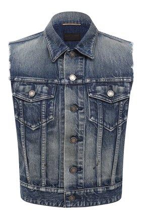Женский джинсовый жилет SAINT LAURENT синего цвета, арт. 638478/Y945Q | Фото 1 (Женское Кросс-КТ: Жилет-одежда; Стили: Гранж; Кросс-КТ: Деним; Длина (верхняя одежда): Короткие; Материал внешний: Хлопок, Деним)
