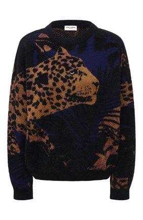 Женский пуловер SAINT LAURENT разноцветного цвета, арт. 646779/YAXD2   Фото 1 (Длина (для топов): Стандартные; Материал внешний: Синтетический материал; Женское Кросс-КТ: Пуловер-одежда; Стили: Кэжуэл; Рукава: Длинные)