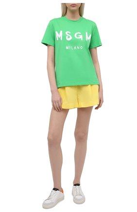 Женские шорты из льна и хлопка A MERE CO желтого цвета, арт. AMC-RSS21-42Y   Фото 2