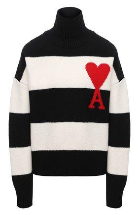 Женский шерстяной свитер AMI черно-белого цвета, арт. H20FK223.018 | Фото 1