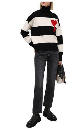 Женский шерстяной свитер AMI черно-белого цвета, арт. H20FK223.018 | Фото 2