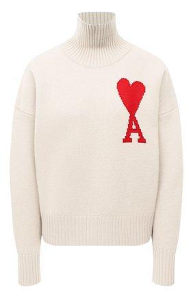 Женский шерстяной свитер AMI бежевого цвета, арт. H20FK203.018 | Фото 1