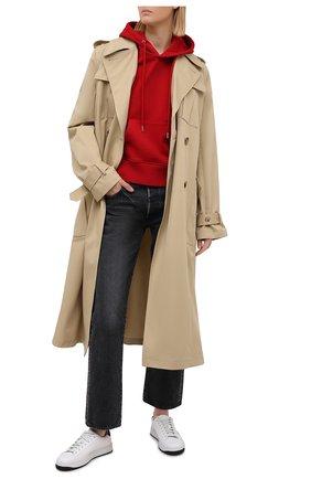 Женский хлопковое худи AMI красного цвета, арт. H20FJ008.730 | Фото 2