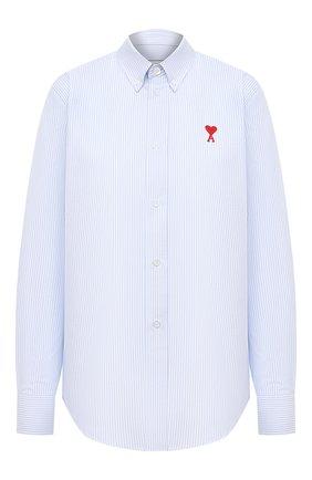 Женская хлопковая рубашка AMI голубого цвета, арт. H20FC050.401 | Фото 1