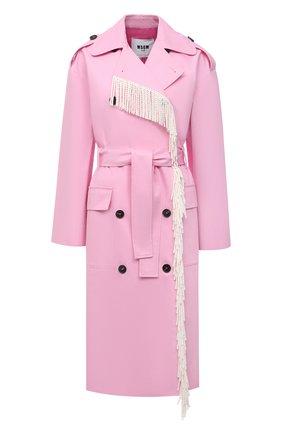 Женский хлопковый тренч MSGM светло-розового цвета, арт. 3041MDC04Y 217105 | Фото 1