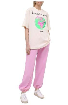 Женские хлопковые джоггеры MSGM светло-розового цвета, арт. 3041MDP61 217299 | Фото 2