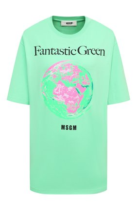 Женская хлопковая футболка MSGM зеленого цвета, арт. 3041MDM190 217117   Фото 1