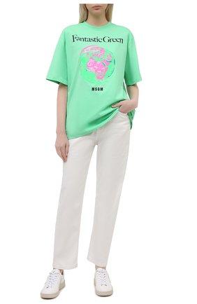 Женская хлопковая футболка MSGM зеленого цвета, арт. 3041MDM190 217117   Фото 2