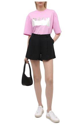 Женская хлопковая футболка MSGM светло-розового цвета, арт. 3041MDM180 217298 | Фото 2