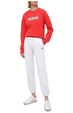 Женский хлопковый свитшот MSGM красного цвета, арт. 3041MDM174 217299 | Фото 2