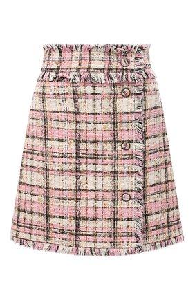 Женская твидовая юбка MSGM светло-розового цвета, арт. 3041MDD13 217102 | Фото 1