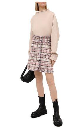 Женская твидовая юбка MSGM светло-розового цвета, арт. 3041MDD13 217102 | Фото 2
