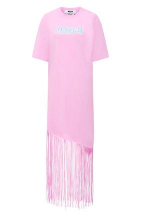 Женское хлопковое платье MSGM светло-розового цвета, арт. 3041MDA63 217298 | Фото 1