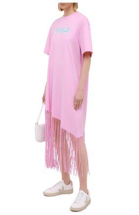 Женское хлопковое платье MSGM светло-розового цвета, арт. 3041MDA63 217298 | Фото 2