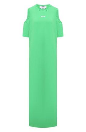 Женское хлопковое платье MSGM зеленого цвета, арт. 3041MDA61 217298   Фото 1