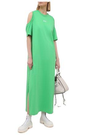 Женское хлопковое платье MSGM зеленого цвета, арт. 3041MDA61 217298   Фото 2