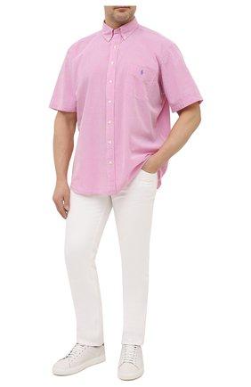 Мужская хлопковая рубашка POLO RALPH LAUREN розового цвета, арт. 711833828/5103D/PRL BS | Фото 2
