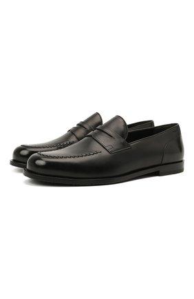 Мужские кожаные пенни-лоферы kentom BALLY черного цвета, арт. KENT0M/110 | Фото 1 (Стили: Кэжуэл; Мужское Кросс-КТ: Лоферы-обувь; Материал внутренний: Натуральная кожа)