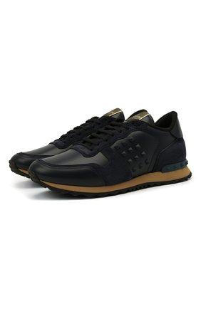 Мужские кожаные кроссовки rockstud VALENTINO темно-синего цвета, арт. VY2S0748/VRJ | Фото 1