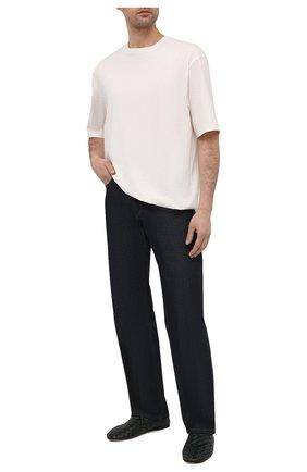 Мужские кожаные слиперы BOTTEGA VENETA темно-зеленого цвета, арт. 620304/VBTR0   Фото 2