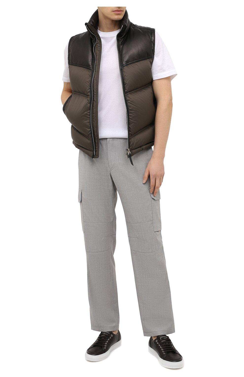 Мужские кожаные кеды BRIONI темно-коричневого цвета, арт. QHH40L/P7731 | Фото 2